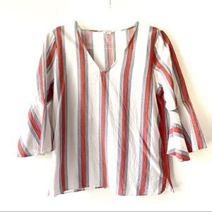 Jane & Delancey V-neck Flounce Sleeve Stripe Top M